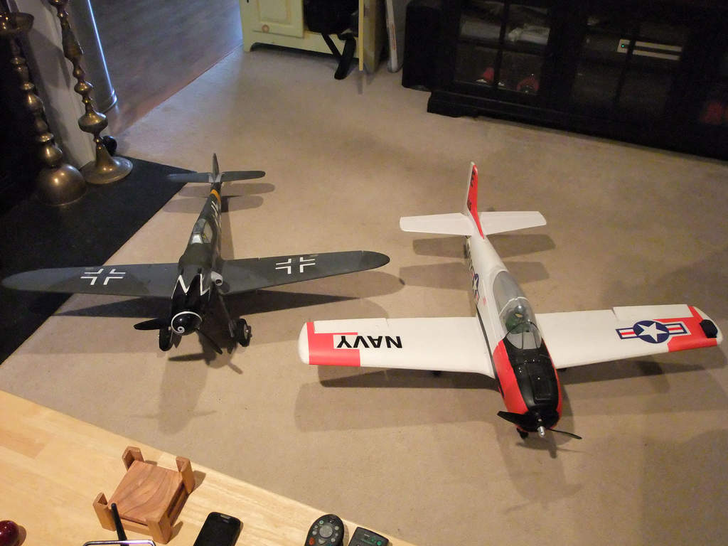 My Parkzone Bf-109 and my trusty T-28.  Gotta love foam!