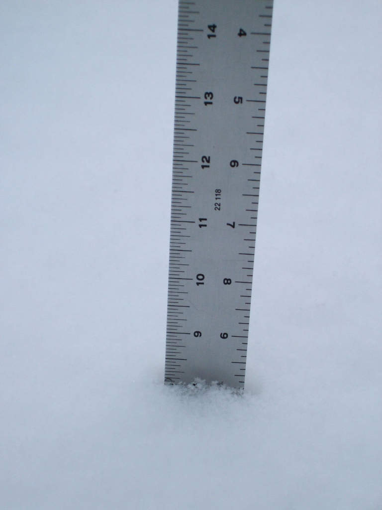 "8"" on the walkway.  I'm about to go shovel."