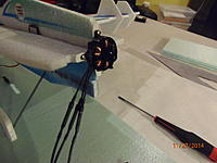 Name: Motor mounted.jpg Views: 28 Size: 617.3 KB Description: Motor mount needs to let power wires down to the correct side of the fuse.  Screw it into the mount and get stoked because you are getting really close to flying this puppy!
