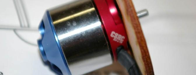 Closeup of the Common Sense #E5-L-10 brushless motor