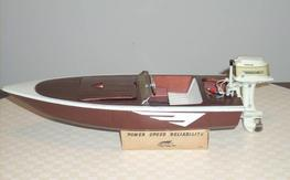 Vintage fleet line boat The Zephyr with electric mercury outboard motor