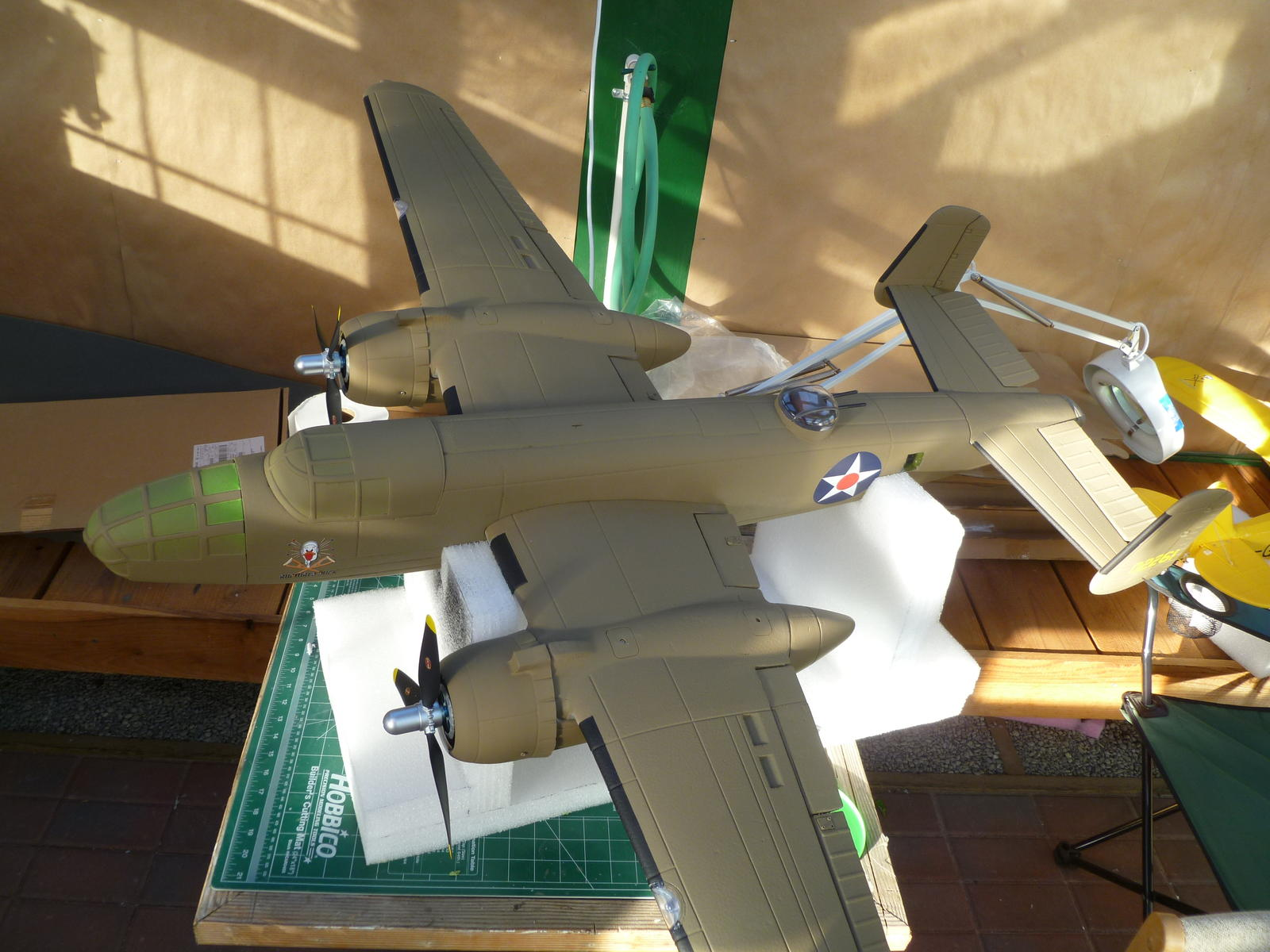 Re-masked and re-painted canopies to match fuselage.