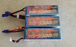 Gens Ace 6s 5300 mah batts. 3 months old