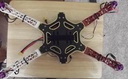 Quadcopter built on hexacopter frame