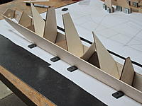 Name: 10.JPG Views: 14 Size: 256.7 KB Description: 10. The five tall, sloped liteply formers support the wing mounting platform and are glued directly to the ply side doublers.