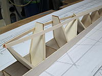 Name: 15.JPG Views: 15 Size: 239.4 KB Description: 15. Balsa cap strips glued onto edges of the tall formers. This area will be the cabin, glazed with clear plastic sheet.
