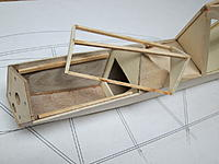 """Name: 20.JPG Views: 16 Size: 257.4 KB Description: 20. Frame for access hatch made from spruce sticks and liteply. Fuselage bottom glued in place (1/32"""" ply + 1/16"""" balsa in nose area, 3/32"""" balsa behind). Cockpit sides sanded to shape."""