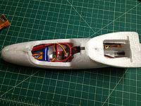 Name: IMG_0306.jpg Views: 106 Size: 150.8 KB Description: R410 hidden under the wing.  500mAh battery in the nose.
