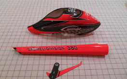 Goblin 380 Red canopy tail boom and fin