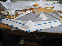 """Name: osw1 004.jpg Views: 1812 Size: 88.8 KB Description: When gluing, (with Gorilla Glue white) I taped the LE and Te down to insure a tight bond.  The """"fuse"""" is just sitting on the wing at this point."""