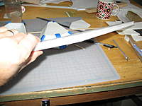 Name: osw1 003.jpg Views: 1753 Size: 97.6 KB Description: Close up of the LE showing the groove I sanded in it for the LE dowel, and the balsa triangle with it's groove.