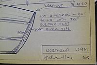 Name: IMG_0196.JPG Views: 18 Size: 1.17 MB Description: Photo of N9M plans by Jack Headley. The title block area has notes regarding construction. I wonder if Jack actually used this glider model in the 1971 Tow Line glider event? We don't have a record of that.