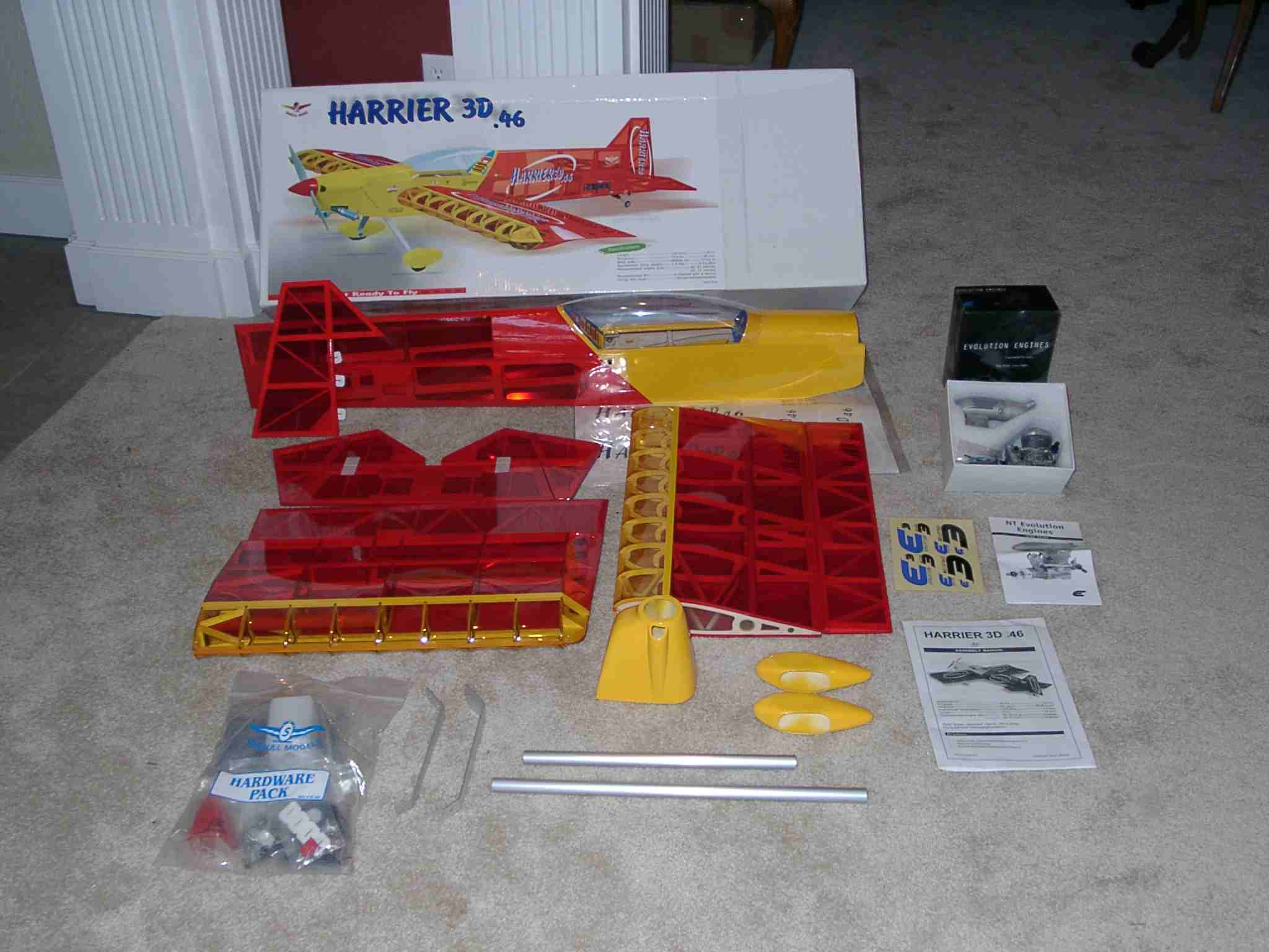 The complete Seagull Harrier 46 kit contents, plus an Evolution .46 Engine.