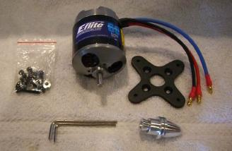 The Power 60 motor comes out of the box with a radial mount, prop adapter, 3.5mm connetors, and mounting screws.