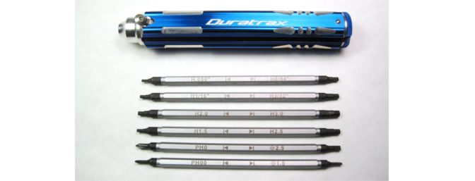 The 12-Tip Multi Driver with all six drivers removed. Notice how each one is clearly labeled for easy tip identification.