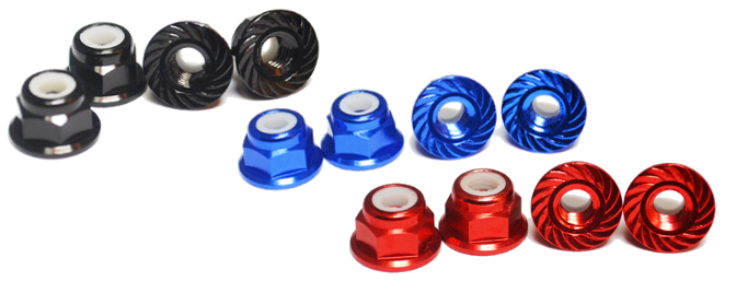 Hobby Pro USA Serrated Wheel Nuts are available in Black, Blue & Red.