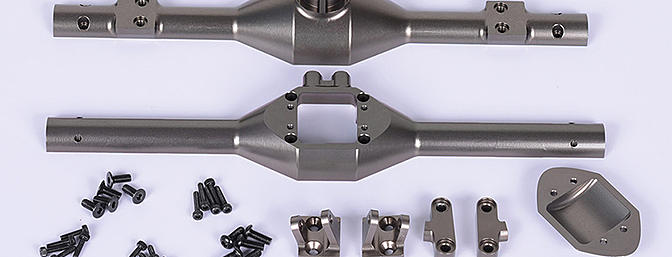 RC4WD's CNC machined aluminum rear axle housing for the Vaterra Twin Hammers.