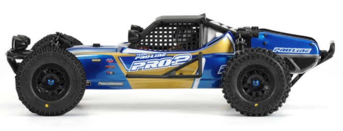 The built-up PRO-2 Performance Buggy Conversion Kit is shown here with Pro-Line�s optional light buckets (item no. 6085-00).