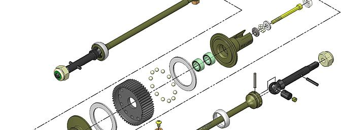 Exploded view of MIP Pucks Drive System.