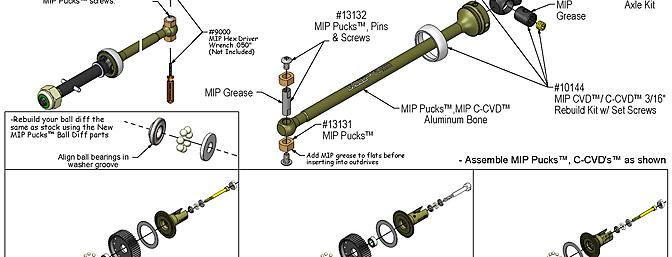 Example of the assembly instructions of the MIP Pucks 17.5 Stock  Off-Road Racing Drive System. MIP instructions are very clear and make the installation of the system a breeze.