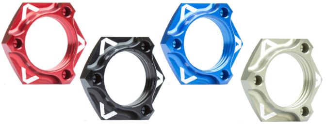 Available in four anodized colors: Red, Black, Blue and Hard Anodized.