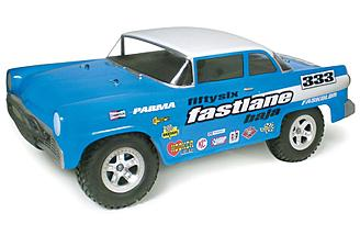 The Parma Fifty Six Fastlane body is shown mounted on a Traxxas Slash.
