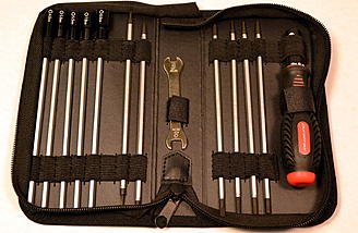 Each tool is securely held in place with an elastic fabric or Velcro.
