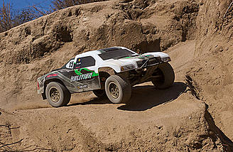 Oil-filled shocks and long travel suspension arms allow the Volition 10SC to tackle serious off-road terrain.