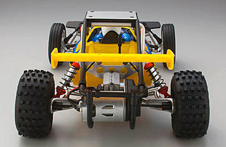 Rear end with plastic roll cage that surrounds the cast aluminum gearbox and motor.