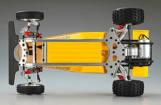 Underside of chassis is countersunk to be smooth. Check out those wild looking rear suspension arms.