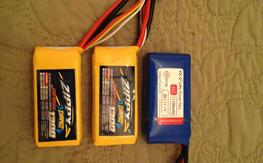 2 X Zippy Compact 3S 25C 1300mAh, 1 X Hyperion 3S 35C 1100mAh