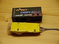Name: quadcopter6.jpg Views: 35 Size: 167.9 KB Description: Den FrSky D8R-II Plus hatten wir aus der gro�en Packung genommen und in Schrumpfschlauch geh�llt. Leider gings mit dem Bind nicht. Lag aber nicht am Geh�use.
