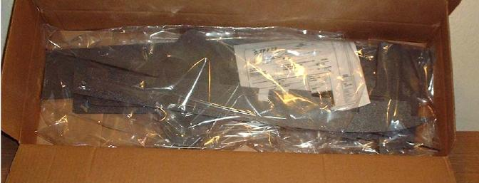 The parts were safely packed and wrapped in plastic.