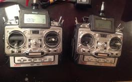 2x Hitec Eclipse 7 FM Spectra QPCM/PPM with 1x Hitec charger & 2x 6 ch rx's