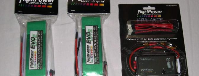 FlightPower 6s 4270 battery packs and V-balance.