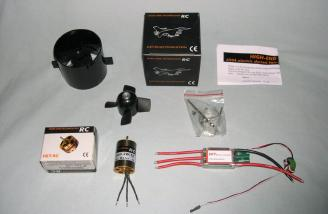 HET 6904 fan, HET 2w-18 Motor, and SPT 80amp speed controller provided by Warbirds-RC.com.