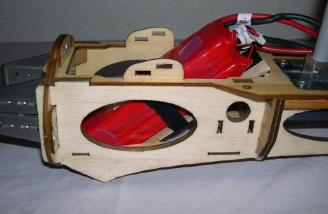 Battery shown mounted into the wood nacelle with new battery tray.