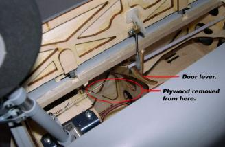 Front gear door lever and pushrod. Note: a piece of the plywood former needed to be removed.