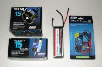 E-flite Delta-V 15 ducted fan unit, E-flite 15 3200kv brushless motor, 60-Amp Pro Switch-Mode BEC Brushless ESC, and 4s ThunderPower  pro power 30c LiPo battery pack.