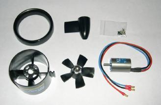 E-flite Delta-v fan and E-flite 15 brushless motor.