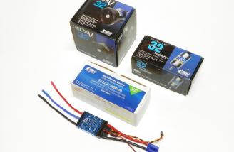 Delta-V (R) 32 80mm EDF Unit by E-flite, BL32 Ducted Fan Motor, 2150Kv by E-flite, 5000mAh 6S 22.2V 30C LiPo, 10AWG EC5 by E-flite, 80-Amp Pro Switch-Mode BEC Brushless ESC, EC5 (V2) by E-flite.