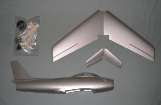 Airframe and ducted fan. (note: wing comes in two pieces)