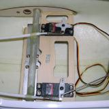 The rudder servo was installed next and the pushrods for the elevator, rudder, and steering were connected to the servo arms.