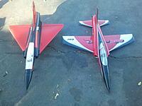 Name: 2014-04-14 18.11.25.jpg Views: 486 Size: 435.5 KB Description: Size comparison, Freewing 80mm Mirage 2000C and Eflite 80mm Habu 32