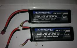 two, 3s 11.1 v 2400mah 30c lipo, light use