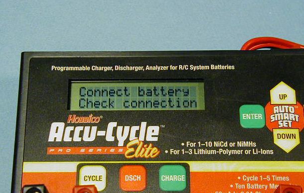 The display when there is a bad connection between the output and the battery to be charged (or it's connected to the other output...oops!)