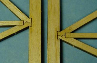 A closeup of the lovely joinery on the vertical fin and rudder