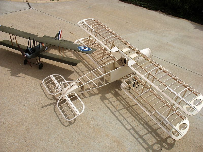 "The 67"" Bristol F2b frame with Peter Rake's 49"" BE12a"