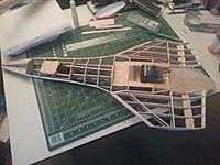 Name: wings and elevrons.jpg Views: 97 Size: 585.4 KB Description: finished building elevrons frame and hand sanded leading edge bevel  attached them via hinge pins  to main wing body. pinned the assembled  wings temporary back to body