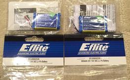 4 Brand New E-Flite 300mAh 2s 7.4v 35c 130x batteries *Free Shipping*